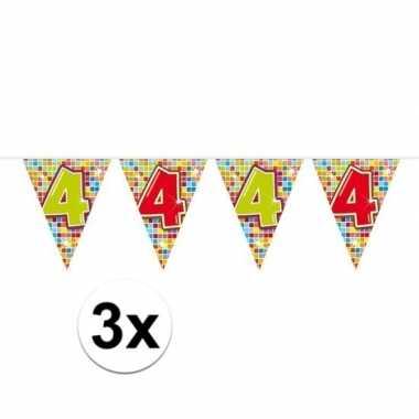 3x mini vlaggenlijn / slinger verjaardag versiering 4 jaar