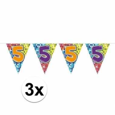 3x mini vlaggenlijn / slinger verjaardag versiering 5 jaar