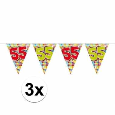 3x mini vlaggenlijn / slinger verjaardag versiering 55 jaar