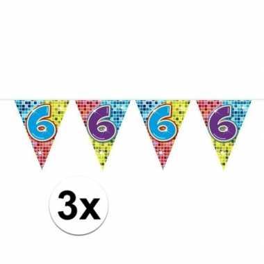 3x mini vlaggenlijn / slinger verjaardag versiering 6 jaar