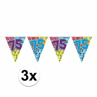 3x mini vlaggenlijn / slinger verjaardag versiering 75 jaar