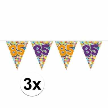 3x mini vlaggenlijn / slinger verjaardag versiering 85 jaar