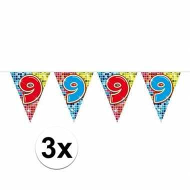 3x mini vlaggenlijn / slinger verjaardag versiering 9 jaar