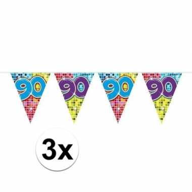 3x mini vlaggenlijn / slinger verjaardag versiering 90 jaar