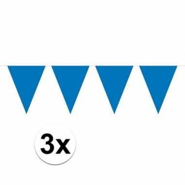 3x mini vlaggenlijn / slinger versiering blauw