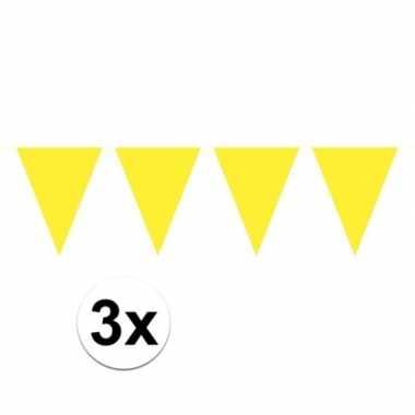 3x mini vlaggenlijn / slinger versiering geel