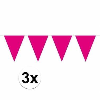 3x mini vlaggenlijn / slinger versiering magenta roze