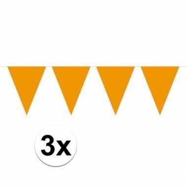 3x mini vlaggenlijn / slinger versiering oranje