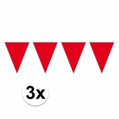 3x mini vlaggenlijn / slinger versiering rood