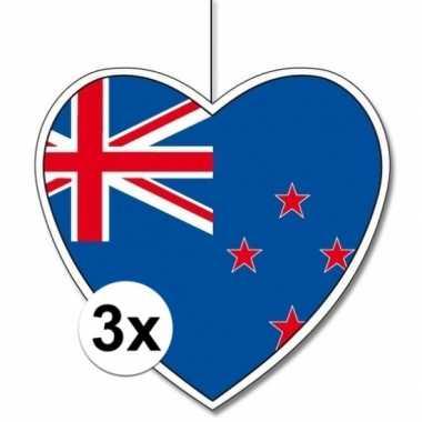3x nieuw zeeland hangversiering harten 28 cm