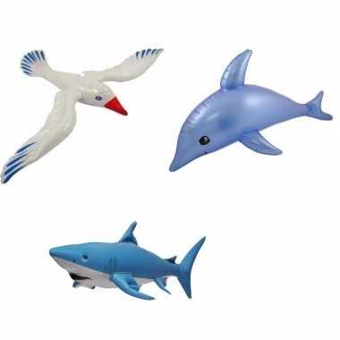 3x opblaasbare maritiem versiering zeedieren type 4