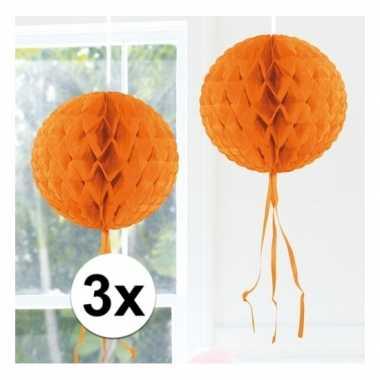 3x oranje versiering bol 30 cm