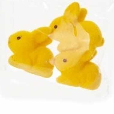 3x pasen paashaas/konijn versiering figuur/beeld geel