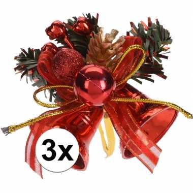 3x rode kerstklokjes/kerststukjes versierings 8 cm