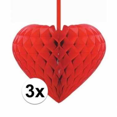 3x rode versiering hartjes versiering 15 cm