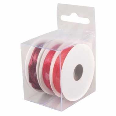 3x rollen hobby/versiering kleurenmix rood satijnen sierlint 3 mm x 6 meter
