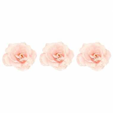 3x roze roos kerstversiering clip versiering 12 cm