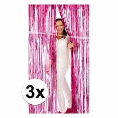 3x roze versiering deurgordijn van folie