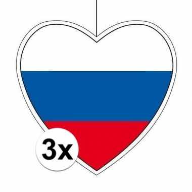 3x rusland hangversiering harten 28 cm