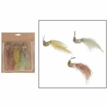 3x versiering vogels op clip gekleurde pauwen 19 cm