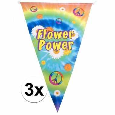 3x vlaggenlijnen flower power hippie feest versiering 5 meter