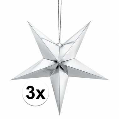 3x zilveren sterren 45 cm kerst versiering/versiering