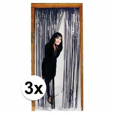 3x zwarte versiering deurgordijn