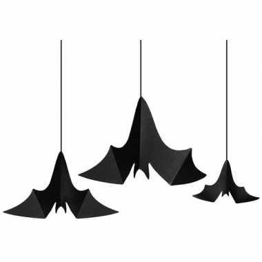 3x zwarte vleermuizen hangversierings van papier