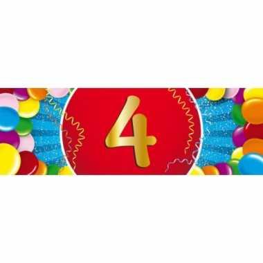 4 jaar leeftijd sticker 19 x 6 cm verjaardag versiering