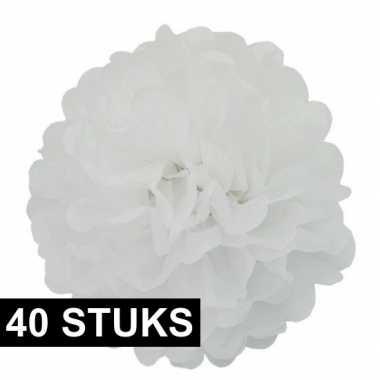 40x witte versiering pompoms 35 cm bruiloft versiering