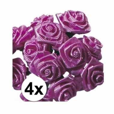 48 versiering rozen donker roze 12 cm
