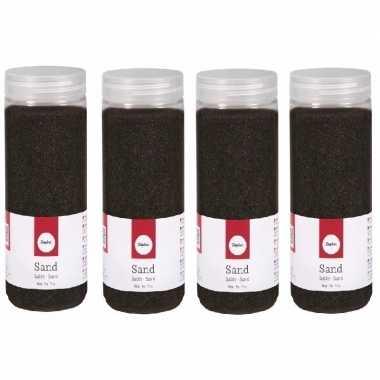 4x 475 ml versiering materiaal zwart zand