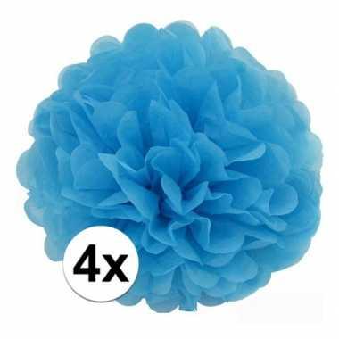 4x blauwe pompom versiering 35 cm