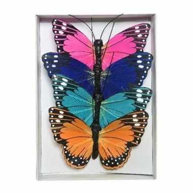 4x gekleurde vlinders op draad 9 cm versiering