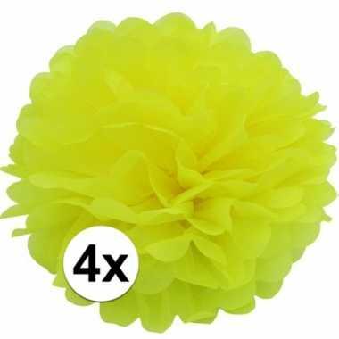 4x gele pompom versiering 35 cm