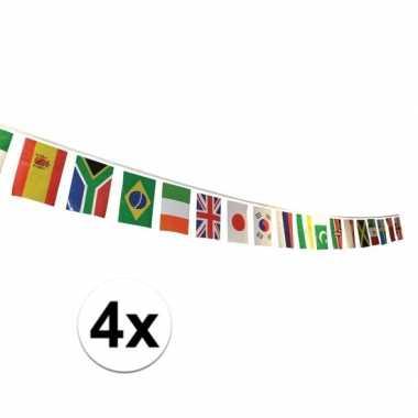 4x internationale versiering vlaggetjes
