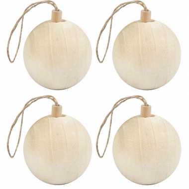 4x kerstboom versiering ballen van licht hout 6,4 cm