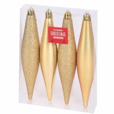 4x kerstboomversiering gouden pegels kersthangers kunststof 15 cm