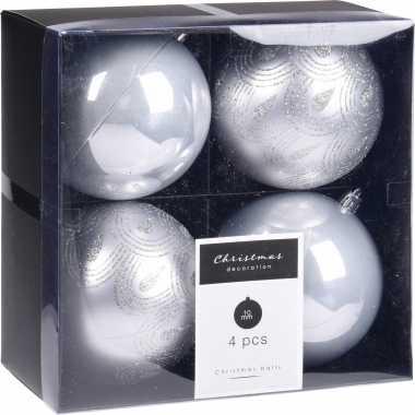 4x kerstboomversiering luxe kunststof kerstballen zilver 10 cm