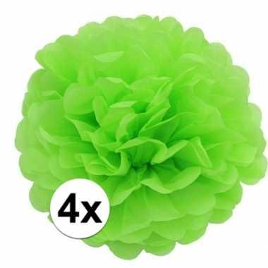 4x lime groene pompom versiering 35 cm