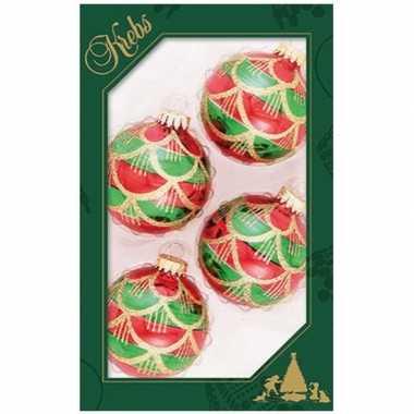 4x luxe rood/groene glazen kerstballen 7 cm kerstboomversiering