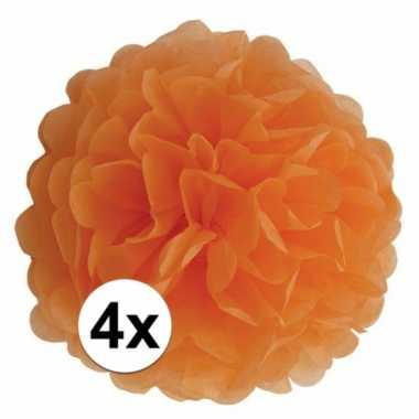 4x oranje pompom versiering 35 cm