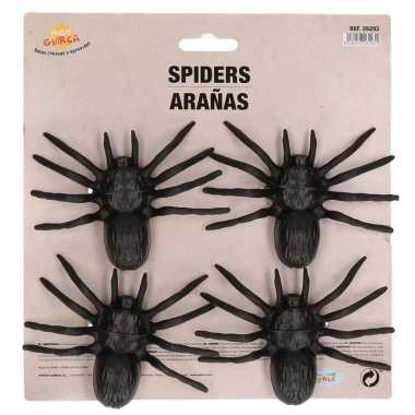 4x plastic nep spinnen 10 cm halloween versiering