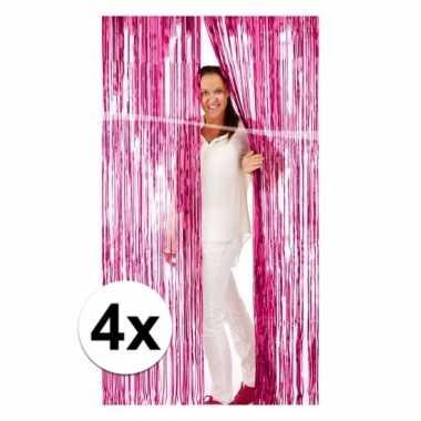 4x roze versiering deurgordijn van folie