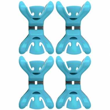 4x slingers/versiering ophangen slingerklemmen blauw