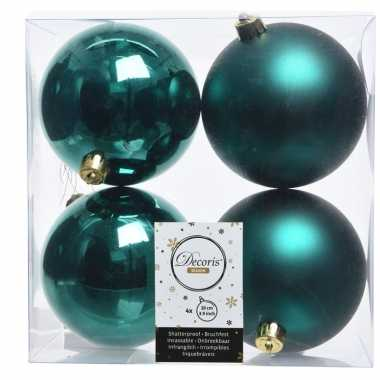 4x smaragd groene kerstversiering kerstballen kunststof 10 cm