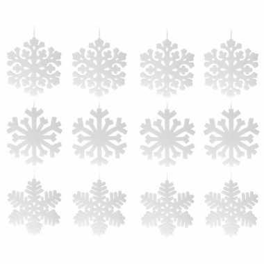 4x sneeuwvlok hangversiering wit 49 cm