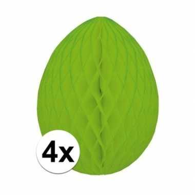 4x versiering paasei groen 20 cm