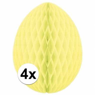 4x versiering paasei pastel geel 20 cm