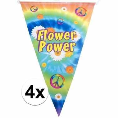 4x vlaggenlijnen flower power hippie feest versiering 5 meter